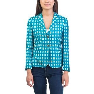 Prada Women's Silk Diamond Pattern Jacket Teal