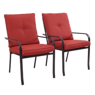 Costway Set of 2 Patio Garden Chairs Steel Frame Outdoor Furniture Dining w/ Red Cushion|https://ak1.ostkcdn.com/images/products/is/images/direct/3c6957d9da29fbaf4046d4a0b8e4fad0f4587200/Costway-Set-of-2-Patio-Garden-Chairs-Steel-Frame-Outdoor-Furniture-Dining-w--Red-Cushion.jpg?impolicy=medium