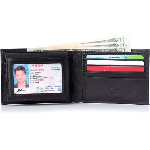 Alpine Swiss Mens Leather Bifold Wallet Removable Flip Up ID Window - One Size
