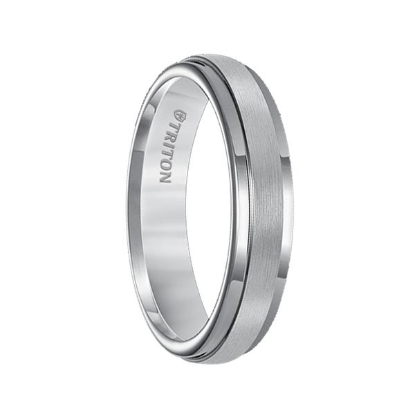 ELIDYR Raised Satin Finshed Center Tungsten Carbide Ring with Polish Finished Step Edges by Triton Rings - 5mm