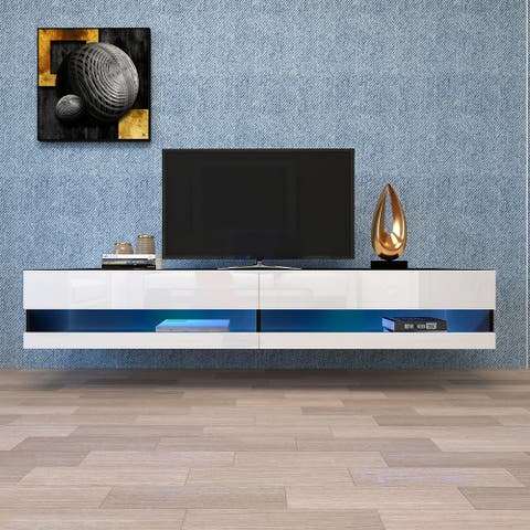 """Wall Mounted Floating 80"""" TV Stand with 20 Color LEDs Black/White"""