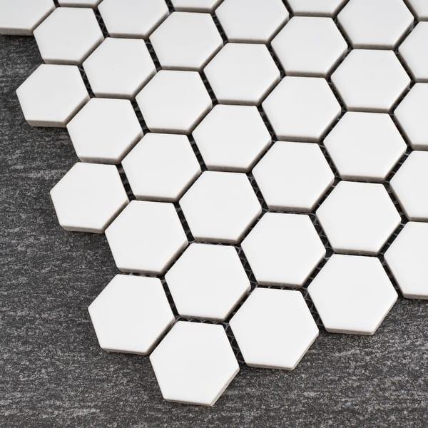 Hexagon Porcelain Tile In White Floor