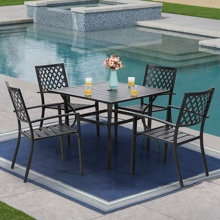 Link to PHI VILLA Metal 5-piece Patio Dining Set Similar Items in Outdoor Dining Sets