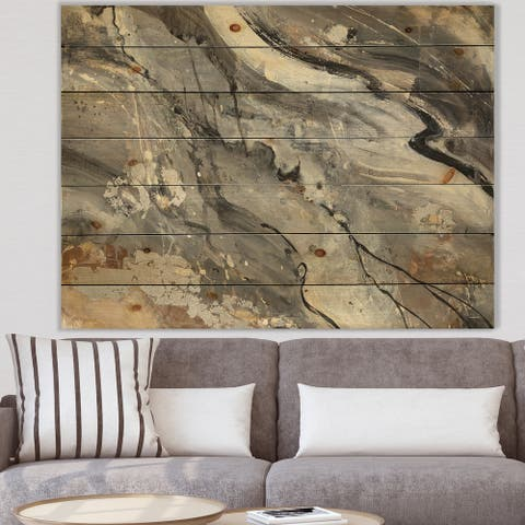 Designart 'Fire and Ice Minerals II' Farmhouse Print on Natural Pine Wood - Black