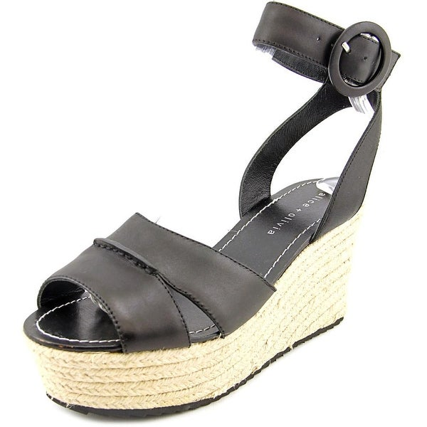 Alice & Olivia Roberta Open Toe Leather Wedge Sandal