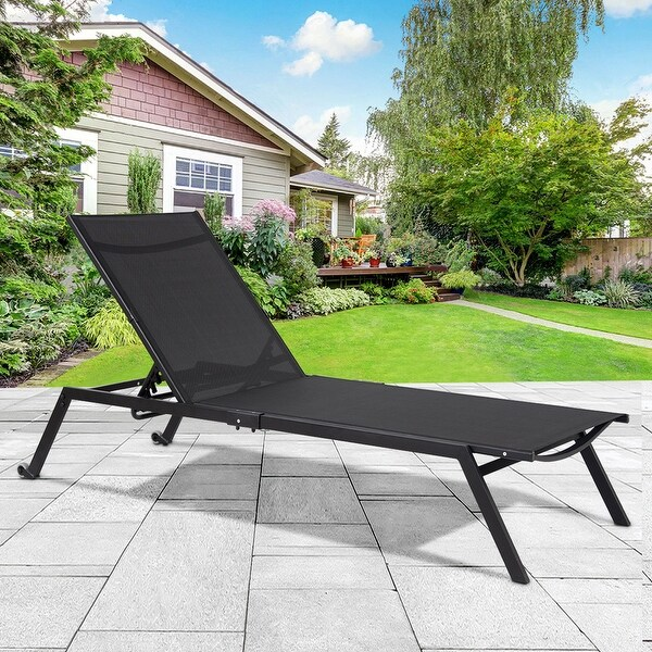 Shop Gymax Patio Chaise Lounge Sling Armless Back
