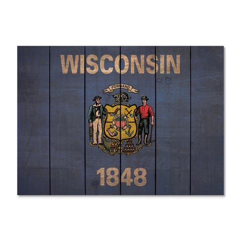 Wisconsin State Flag on Wood - Indoor and Outdoor Safe Wall Decor