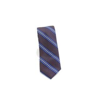 Black Brown NEW Brown Blue Heather Stripe Woven Classic Neck Tie Silk