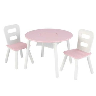 KidKraft: Round Table and Two Chair Set - Pink&whi
