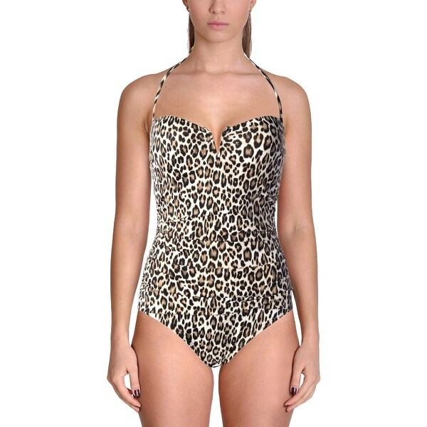 07fc8bf83b Tommy Bahama Womens Cat's Meow Animal Print Convertible One-Piece  Swimsuit