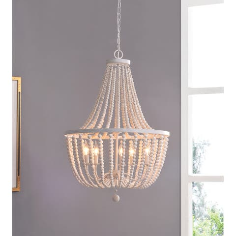 Zander White Wood Bead 5-light Chandelier