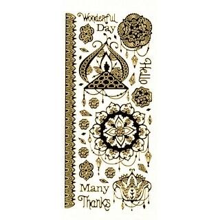 Dazzles Stickers-Dangles-Black, Gold Foil
