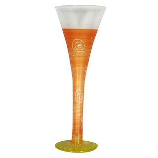 Set of 2 Frosted Orange Hand Painted Hollow Flute Drinking Glasses - 16 Oz.