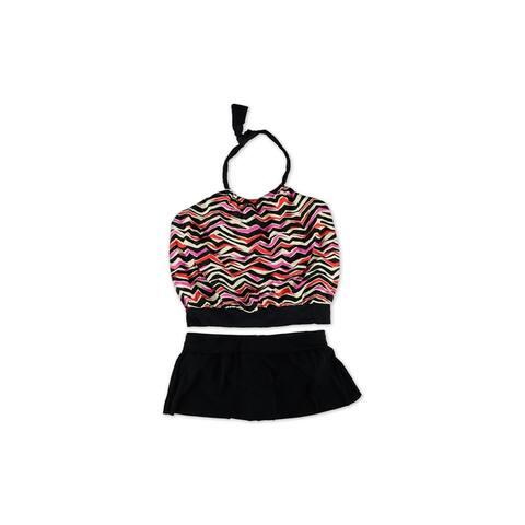 Magicsuit Womens Multi Striped U-Wire Skirt 2 Piece Tankini