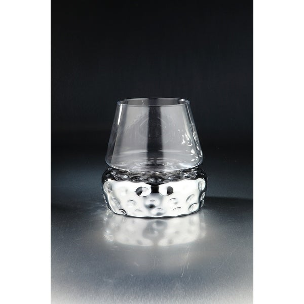 """11"""" Silver and Clear Hand Blown Glass Candle Holder - N/A"""