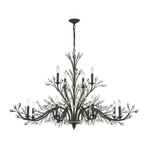 Crystal Branches 12-Light Chandelier in Burnt Bronze