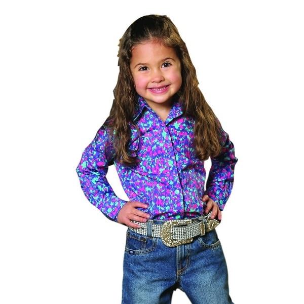 Cruel Girl Western Shirt Girls Infant L/S Snap Weave Purple