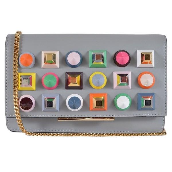 6074054e3eab Fendi Grey Leather Mini Bag Studded Crossbody Purse Clutch Handbag 8M0346 -  Multi