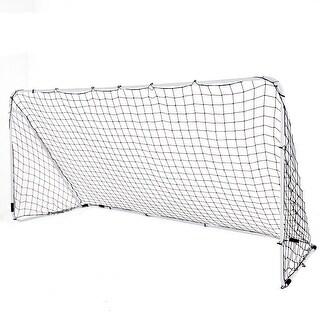 Costway 12' x 6' Steel Football Soccer Goal Net Gate Backyard Outdoor Sport Weatherproof - white gate frame, black net.