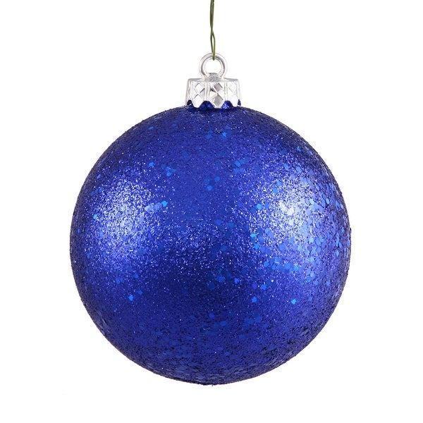 "4"" Colbalt Blue Sequin Ball Drilled 6/Bg"