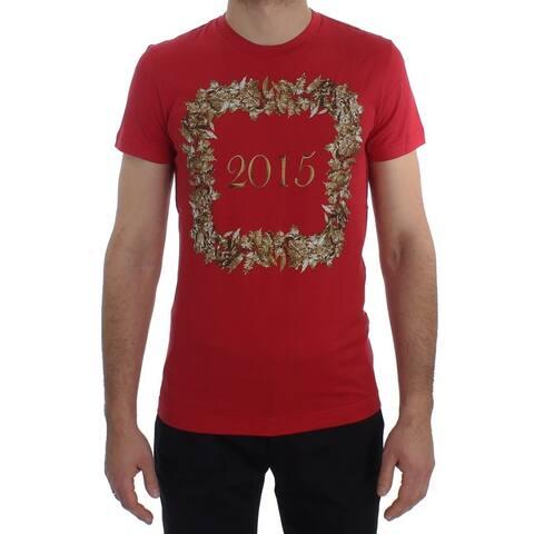 Crewneck 2015 Motive Print Red Cotton Men's T-shirt