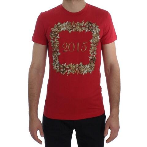 Dolce & Gabbana Dolce & Gabbana Crewneck 2015 Motive Print Red Cotton T-shirt