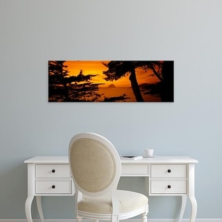 Easy Art Prints Panoramic Images's 'Rock in a lake at dusk, Morro Rock, Morro Bay, California, USA' Premium Canvas Art