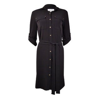 Calvin Klein Women's Belted Roll-Tab Jersey Shirtdress