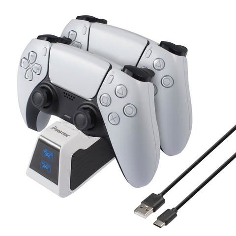 USB-C Upgraded Fast Charging Station with LED Indicator Compatible With PS5 Controller, White / Black