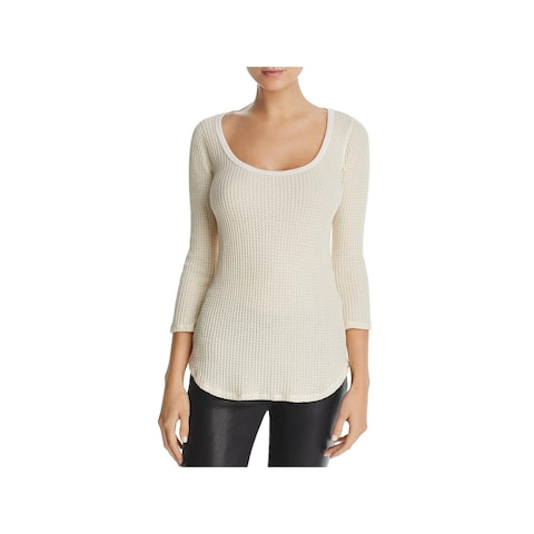 Three Dots Womens Thermal Top Scoop Neck Sheer