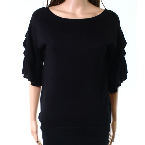 NY Collection Black Women Size Small S Ruffle Tiered Sleeve Knit Top