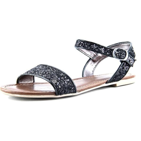Material Girl Kim Women Open-Toe Canvas Black Slingback Sandal