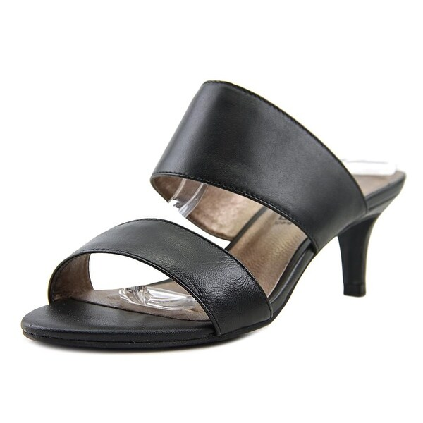 Moda Spana May Women Open Toe Leather Black Sandals