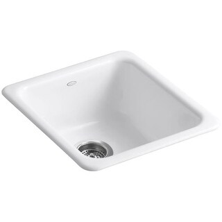 "Kohler K-6584 Iron Tones 17"" Single Basin Top-Mount/Under-Mount Enameled Cast-Iron Kitchen Sink"