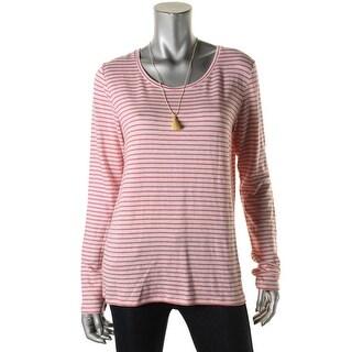 Scotch & Soda Womens Juniors T-Shirt Linen Blend Striped