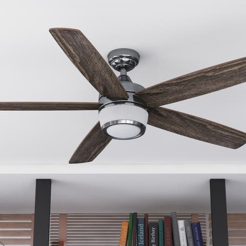"48"" Prominence Home Tennyson Indoor Modern Ceiling Fan with Remote, Gun Metal - 48"