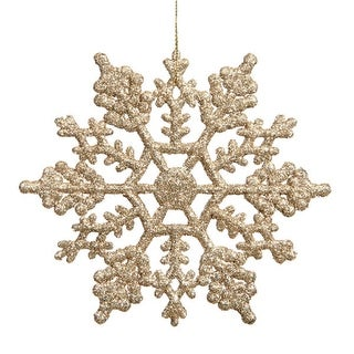 Club Pack of 24 Champagne Gold Glitter Snowflake Christmas Ornaments 4""