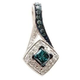 Attractive 0.44 Carat Princess & Round Cut Blue Diamond With Diamond Designer Pendant