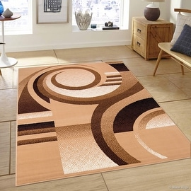 """Allstar Brown Area Rug. Contemporary. Abstract. Traditional. Formal. Shapes. Spirals. Circles (7' 7"""" x 10' 6"""")"""