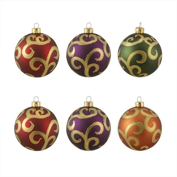 "6ct Glittered Earth Tone Swirl Shatterproof Christmas Ball Ornaments 3.25"" 80mm - multi"