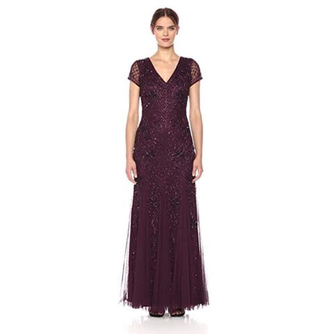 Adrianna Papell Short Sleeve Fully Beaded Long Gown Grid Pattern