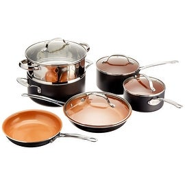 Gotham Steel 10-Piece Kitchen Nonstick Ti-Cerama Frying Pan and Cookware Set