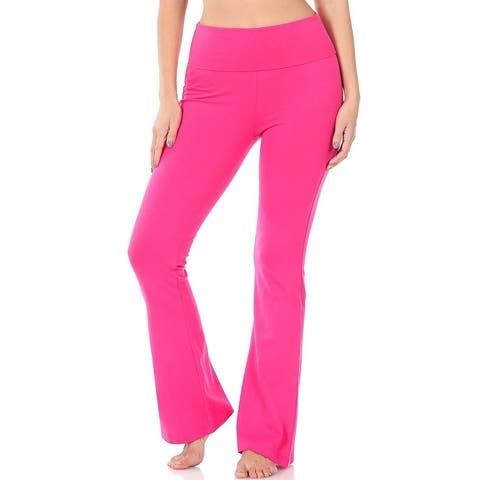 JED Women's Fold-Over Flared Yoga Casual Pants