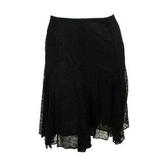 Ralph Lauren Women's Lace Handkerchief Hem Skirt - Black
