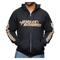 Harley-Davidson Men's Distressed Everlong H-D Script Zippered Hoodie, Black