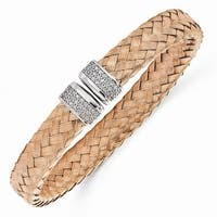 Italian Sterling Silver Rose Gold-plated CZ Woven Flexible Cuff