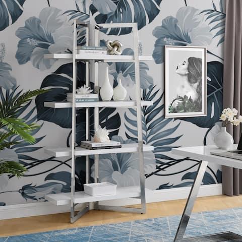 Alohia High Gloss Lacquer Finish Bookshelf Stainless Steel Frame