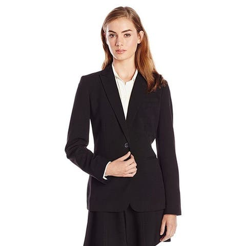 Calvin Klein Women's Single Button Suit Jacket,Black,2