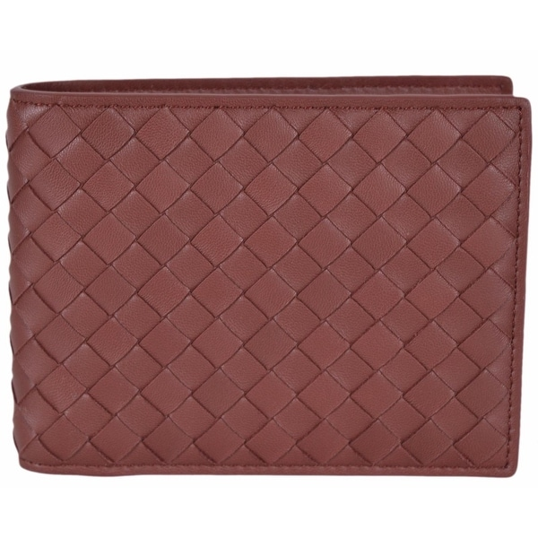 "Bottega Veneta Men's 148324 Russet Woven Leather Bifold Wallet W/Coin Pocket - 5"" x 3.65"""