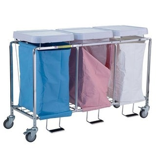 Triple Easy Access Hamper with Foot Pedal, Blue, Mauve &